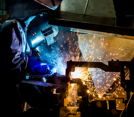 building safety: Welding work in factory