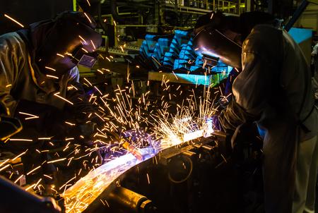 welded: welding work in cars factory  industrial