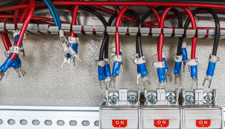 plc: Electrical control wire system in cabinet for machine Stock Photo