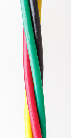 earthing: Electric cable. Colorful bundle of electric or electronic cables.close up