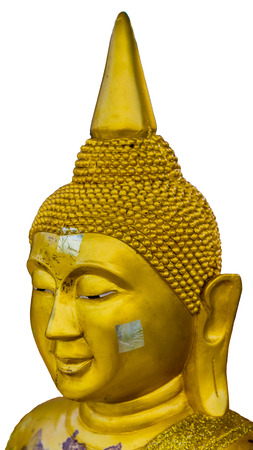 gold buddha face.  Isolate on white