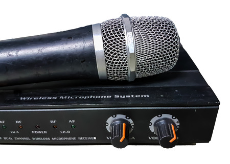 Audio amplifiers control mic isolate on white background