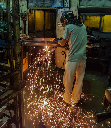 acetylene: metal cutting with acetylene torch in factory