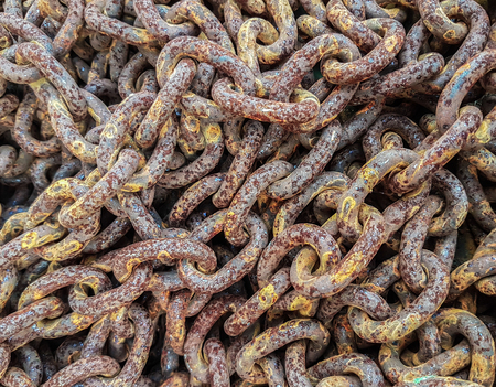 rusty chain: Close-up of old rusty chain links
