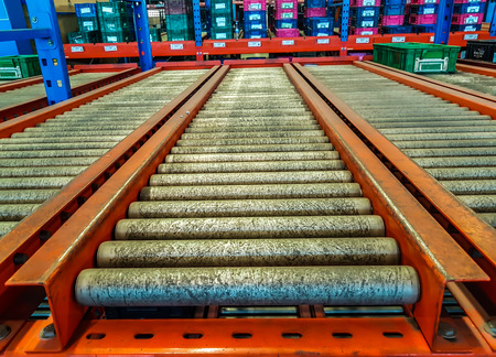 storehouse: The conveyor rollers in distribution warehouse or storehouse