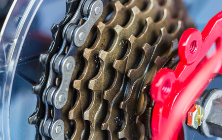 bike gear and wheel with chain Stock Photo