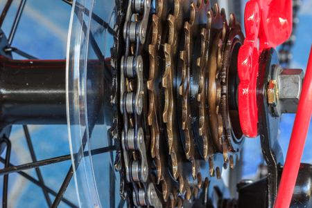 rack mount: bike gear and wheel with chain Stock Photo