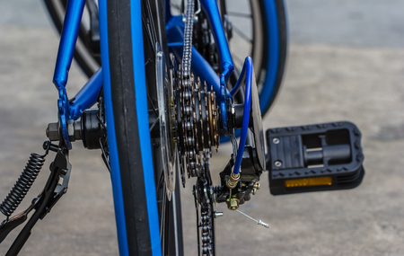 rack mount: a bicycle gears mechanism and chain on the rear wheel