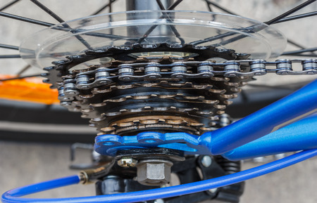 bike gear and wheel with chain 스톡 콘텐츠