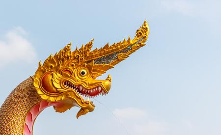 Head Dragon sculpture. thai style background