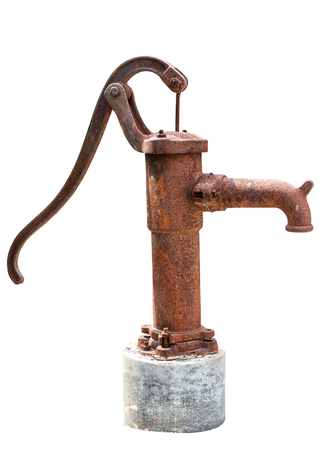 Pump hand old, groundwater lever isolate on white background