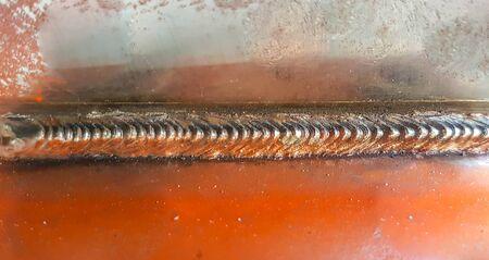 Seam weld on steel sheet metal in Industrial welding