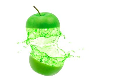 Green apple juice distribution on white background