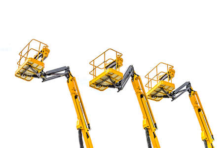 Yellow basket, of forklifts or crane for industrial construction