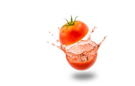 Tomato juice splashing distribution on white background