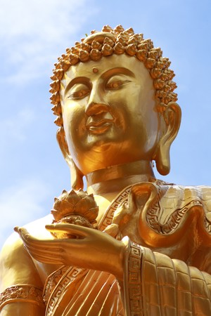 nice gold buddha face in chinese style, Thailand Stock Photo - 7020091