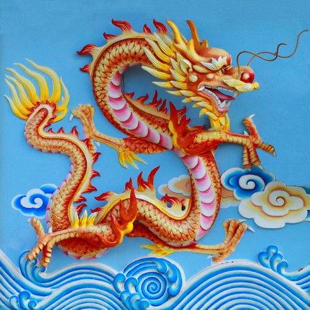 colorful chinese dragon at the wall of temple, Thailand Stock Photo - 7081139