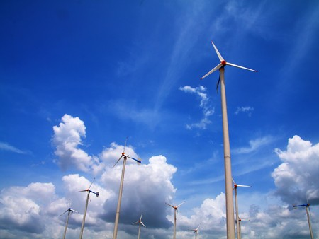 Modern wind turbines or wind mills producing energy.Thailand photo