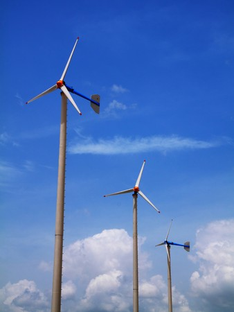 Modern wind mill or wind mills producing energy.Thailand photo