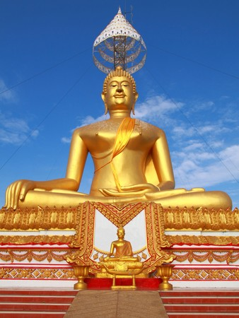 small and big golden Buddha stay at same place with same character, Thailand photo