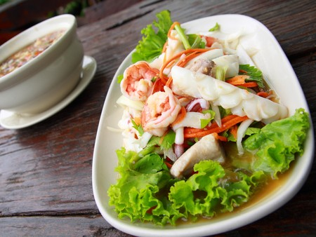Thai seafood salad in thai restaurant