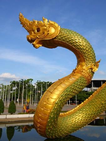 Thai dragon or king of Naga statue in thommasart university, Thailand Stock Photo - 7480016