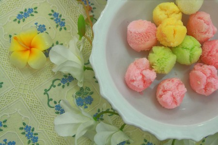 colorful thai style dessert,Tauyful.made from sugar and flour photo