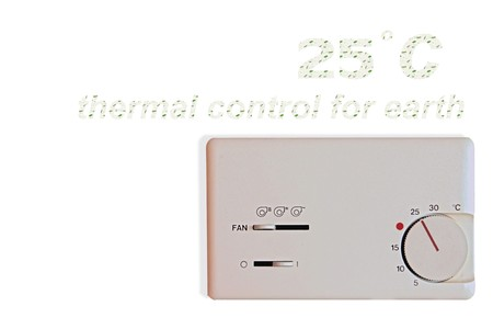temperature controller: indoor thermostat isolate on white background.