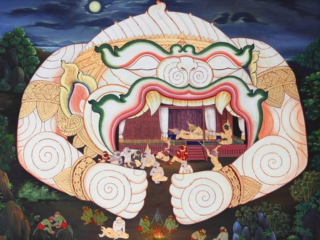 Traditional Thai style art painting on temples wall (Ramayana story).Generality in Thailand, any kind of art decorated in Buddhist church, temple pavilion, temple hall, monks house etc. created with money donated by people to hire artist. They are publi photo