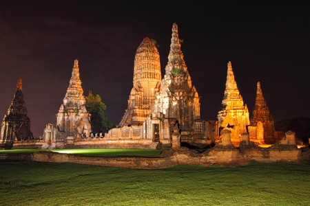 Night scene of Wat Chaiwattanaram, the historical temple in Ayutthaya, Thailand photo