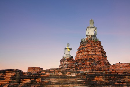 ruins Buddha  at the temple of Wat Chai Wattanaram in Ayutthaya near Bangkok, Thailand photo
