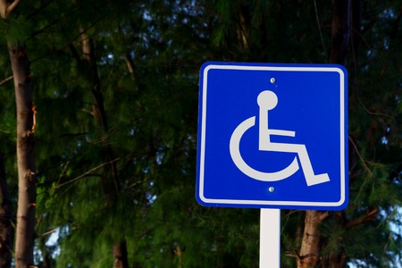 disable: Parking sign for disable people Stock Photo