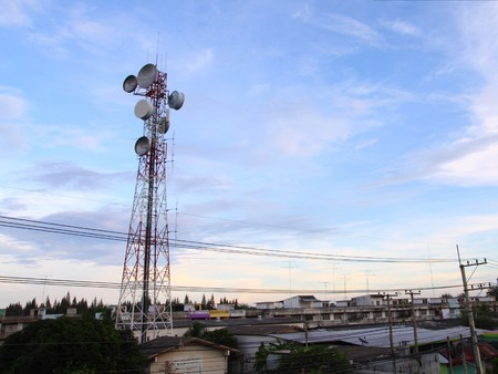 telecommunications tower in small town photo