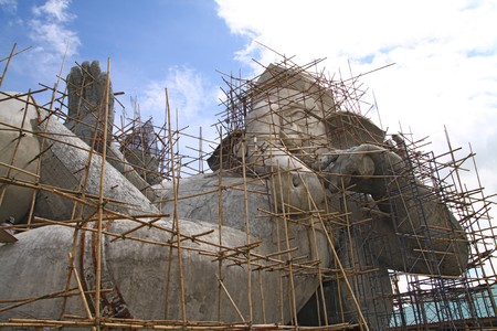 constructions the big statue of Ganesha in thailand. Ganesha is the Elephant headed god of luck and prosperity  photo