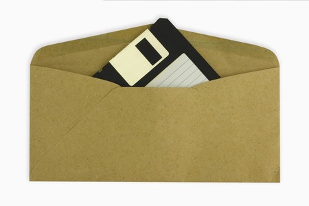 receive the old file concept.old floppy disk in brown envelop. photo