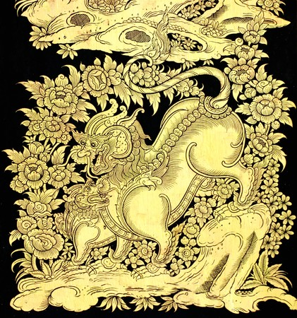 fairy tale leo in traditional Thai style art painting on window of the temple  Stock Photo