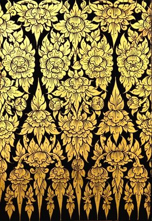 thai painting: flower pattern in traditional Thai style art painting on window of the temple  Stock Photo