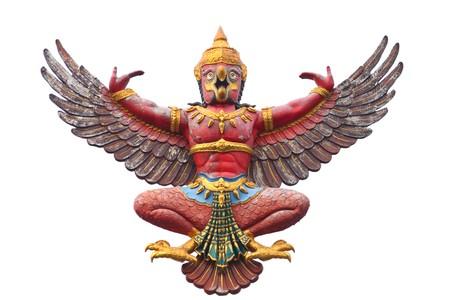 garuda: old Garuda statue isolated on white background. Stock Photo