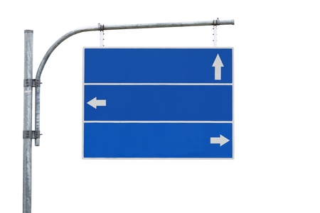Blank road sign, three arrow blue isolated ready for your custom text . Stock Photo - 8237599