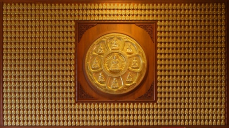 godhead: Image of golden Buddha in Chinese temple wall