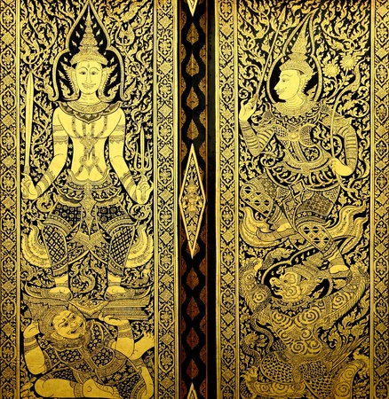 thai painting: Traditional Thai style art painting on temples door (Ramayana story)  Stock Photo