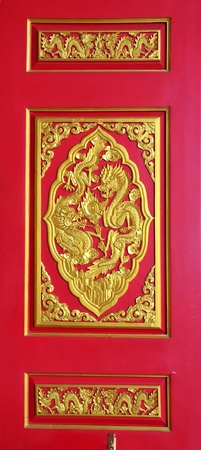 Traditional Chinese art at temple door photo
