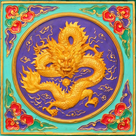 Dragon carved sculpture in the wall of chinese temple
