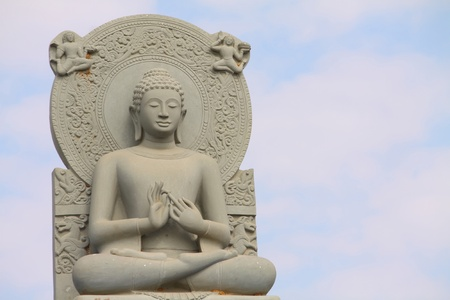 perfect Buddha statue carved from sand stone with clear sky.  . Stock Photo - 8861329
