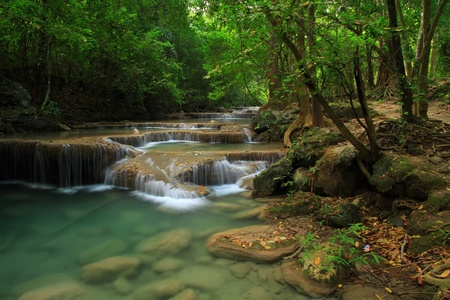 erawan: Erawan water fall, Kanchanaburi, Thailand Stock Photo