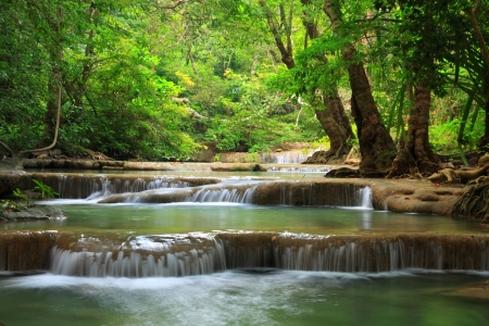 Erawan water fall, Kanchanaburi, Thailand Stock Photo