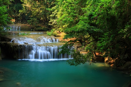 cascade mountains: green river in green forest, Thailand.
