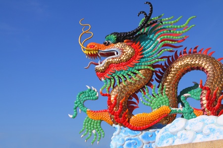 beautiful chinese dragon statue with blue sky Stock Photo - 8861377