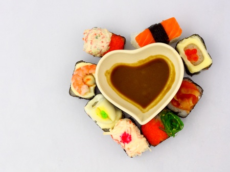 sushi in love. sushi collection in heart shape.