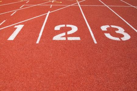 fast track: Athletics Track Lane Numbers Stock Photo